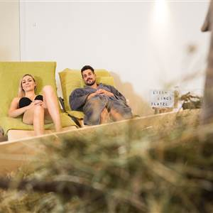 Couple relaxes in a wellness area