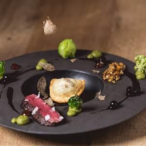 Gourmetspeise mit Filetstück im Detail